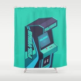 Polybius Arcade Game Machine Cabinet - Isometric Green Shower Curtain