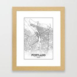Minimal City Maps - Map Of Portland, Oregon, United States Framed Art Print