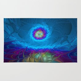 Fantasy, Abstract Fractals Art With Blue Rug