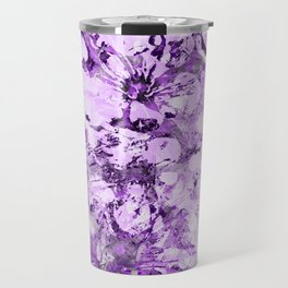 Abstract Cherry Blossom Plaster in Violet Travel Mug