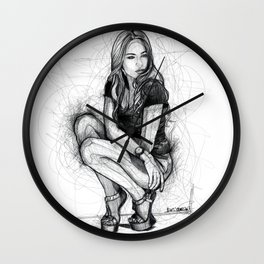 Xenia Tchoumitcheva Squatting Woman Wall Clock