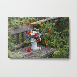 Nostalgic Flower Still Life In My Country Garden Metal Print