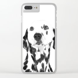 Black and White Dalmatian Clear iPhone Case