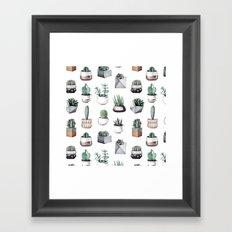 Cactus + Succulents Pattern Framed Art Print