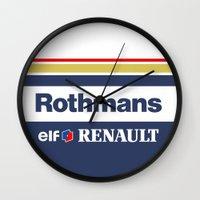 senna Wall Clocks featuring Williams F1 Rothmans Ayrton Senna by Krakenspirit