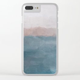 Turquoise Aqua Blue Coral Rose Pink Gray Abstract Painting, Modern Wall Art, Ocean Sunset Sand Wave Clear iPhone Case