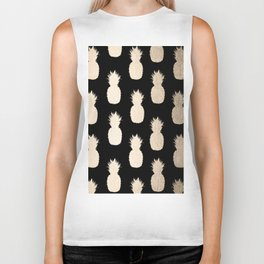 Gold Pineapples Pattern Black Biker Tank