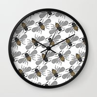 bees Wall Clocks featuring bees by Huntleigh