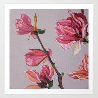 magnolia Art Prints featuring Magnolia by Marjolein