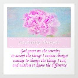 Serenity Prayer With Pink Peony Art Print