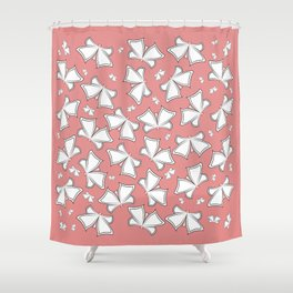 The pattern of butterflies. White butterflies on a pink background. Shower Curtain