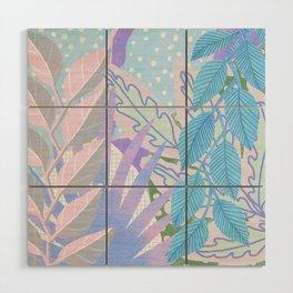Modern Jungle Plants - Blue, Purple Wood Wall Art