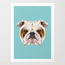 English Bulldog // Blue  Art Print