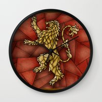 lannister Wall Clocks featuring House Lannister Stained Glass by itsamoose