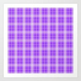 Bright Neon Purple White Tartan Plaid Check Art Print