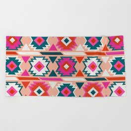 Kilim Abundance Pattern  - Blush & Teal Palette Beach Towel