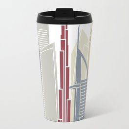 Dubai V2 skyline poster Travel Mug