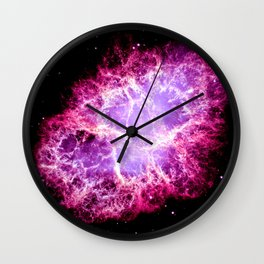 Pink Crab Nebula Wall Clock