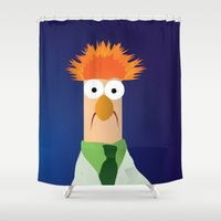 muppets Shower Curtains featuring Beaker - Muppets Collection by Bryan Vogel