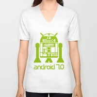 android V-neck T-shirts featuring Android 7 by andyk77