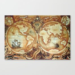 Release the Kraken - A New Map of the World Canvas Print