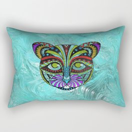 Colorful Zentangle Glitter Glass  CaColorful Zentangle Glitter Glass  Cat t Rectangular Pillow