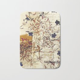 Vintage floral collage on paper Bath Mat