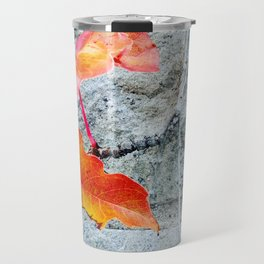 Red Leaves Growing by the Wall. Autumn, Fall Travel Mug