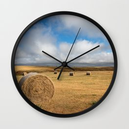 A Day on the Prairie - Round Hay Bales on Golden Landscape in South Dakota Wall Clock