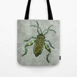 Metallic Green & Gold Insect on Prehistoric Rock Tote Bag