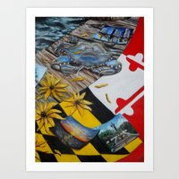 maryland Art Prints featuring Maryland by Demetra Smalls