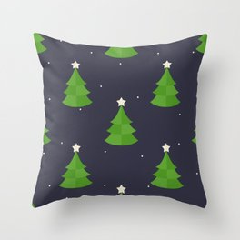 Green Christmas Tree Pattern Throw Pillow
