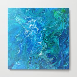 Elegant Crazy Lace Agate 2 - Blue Aqua Metal Print