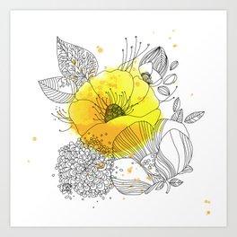 Yellow Floral Burst Art Print