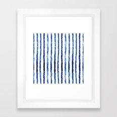 Blue painted stripes Framed Art Print
