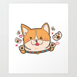 Corgi Dog Gifts Cute Puppy Pets Art Print