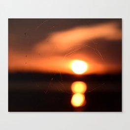Sunset Through A Spiderweb Canvas Print