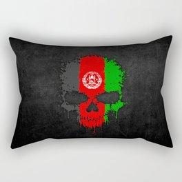 Flag of Afghanistan on a Chaotic Splatter Skull Rectangular Pillow