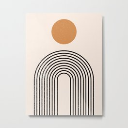 Mid Century Magic Sun With Oval Black Nesting Lines Abstract Shapes Metal Print