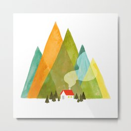 House at the foot of the mountains Metal Print