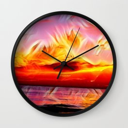 Sky on Fire (Sunset over Great Lake Michigan Beach) Wall Clock
