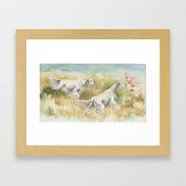 ENGLISH SETTERS in the field Hunting scene Watercolor and ink painting Scenic Illustration Framed Art Print