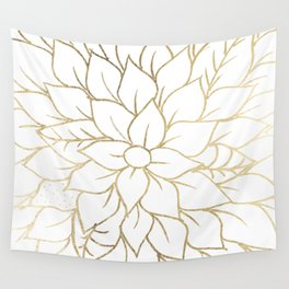 Gold faux foil chic floral elegant pattern Wall Tapestry