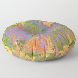 Messy Art II - Abstract, pastel coloured artwork in a random, chaotic, messy style Floor Pillow