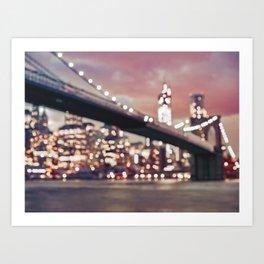 New York City Brooklyn Bridge Lights Art Print