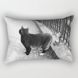 Observing Railway Cat Black & White Rectangular Pillow