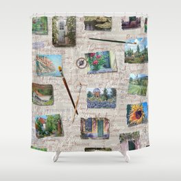 Postcards From France Pattern Shower Curtain