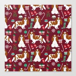 Cavalier King Charles Spaniel blenheim coat christmas pattern dog breed by pet friendly Canvas Print
