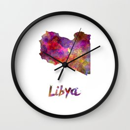 Libya in watercolor Wall Clock