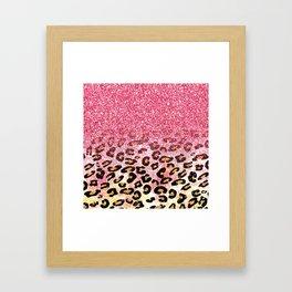 Cute girly trendy bubble gum pink faux glitter leopard animal print pattern Framed Art Print